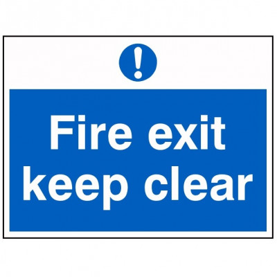 200x150mm Fire Exit Keep Clear Sign - Rigid Plastic