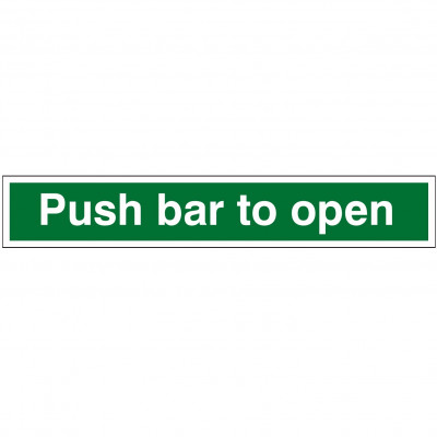 600x100 Push Bar to Open Sign - Self Adhesive Vinyl