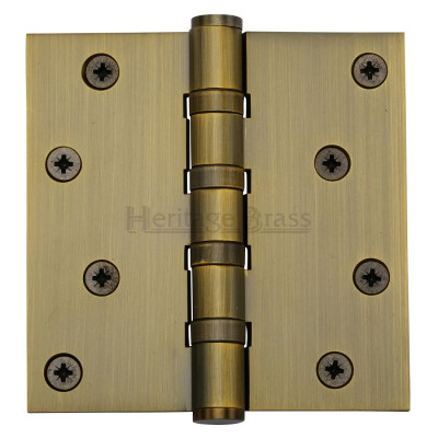 "M.Marcus 102x102mm (4"" x 4"") Ball Bearing Butt Hinge (pair) - Antique Brass"