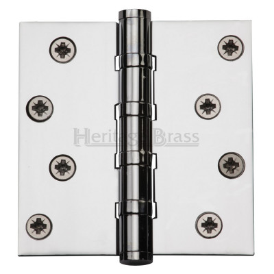 "M.Marcus 102x102mm (4"" x 4"") Ball Bearing Butt Hinge (pair) - Polished Chrome"