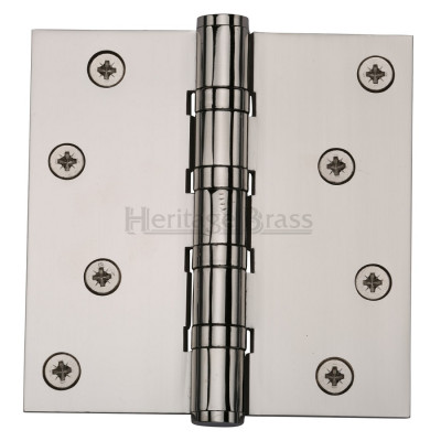 "M.Marcus 102x102mm (4"" x 4"") Ball Bearing Butt Hinge (pair) - Polished Nickel"