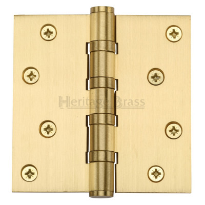 "M.Marcus 102x102mm (4"" x 4"") Ball Bearing Butt Hinge (pair) - Satin Brass"