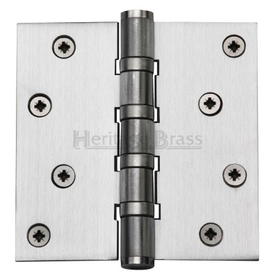 "M.Marcus 102x102mm (4"" x 4"") Ball Bearing Butt Hinge (pair) - Satin Chrome"