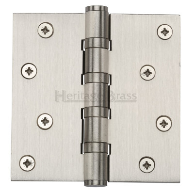 "M.Marcus 102x102mm (4"" x 4"") Ball Bearing Butt Hinge (pair) - Satin Nickel"