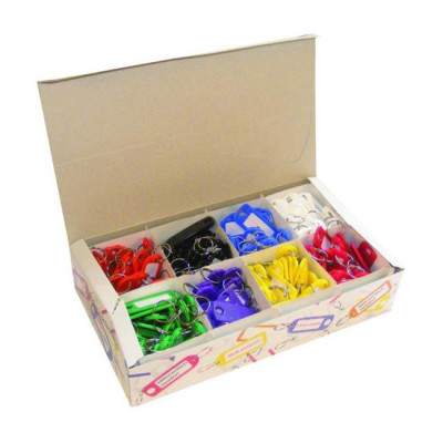 Key Tags with Split Rings - Box of 200 Assorted Colours