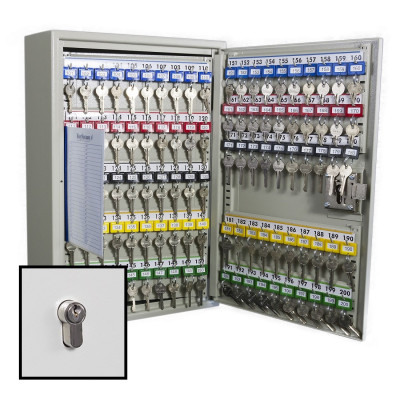 KeySecure Security Key Cabinet With Euro Cylinder Lock - 200 Hook