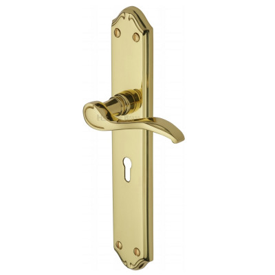 M.Marcus Verona Long Plate Lock Handles - Polished Brass