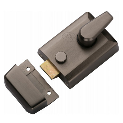 York Deadlocking Rim Nightlatch - 60mm Backset - Matt Bronze Case with Matt Bronze Cylinder