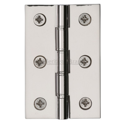 "M.Marcus 76x51mm (3"" x 2"") Double Phosphor Washered Butt Hinge (pair) - Polished Nickel"
