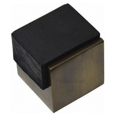 M.Marcus Squared One Sided Floor Mounted Door Stop - Antique Brass