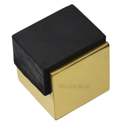 M.Marcus Squared One Sided Floor Mounted Door Stop - Polished Brass