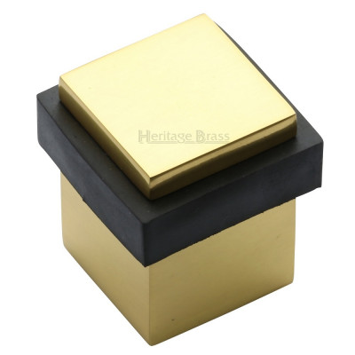 M.Marcus Squared Floor Mounted Door Stop - Polished Brass