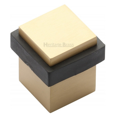 M.Marcus Squared Floor Mounted Door Stop - Satin Brass