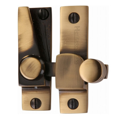 M.Marcus Rounded Hook Plate Sash Fastener - Antique Brass
