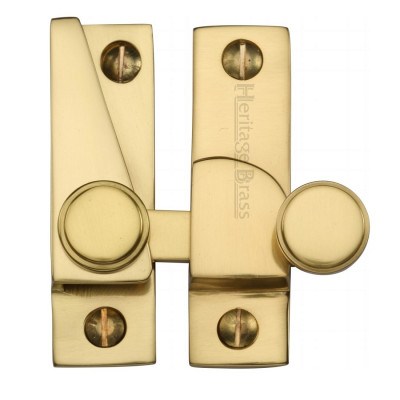 M.Marcus Flat Hook Plate Sash Fastener - Polished Brass