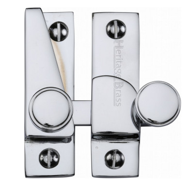 M.Marcus Flat Hook Plate Sash Fastener - Polished Chrome