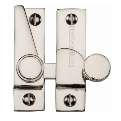 M.Marcus Flat Hook Plate Sash Fastener - Polished Nickel