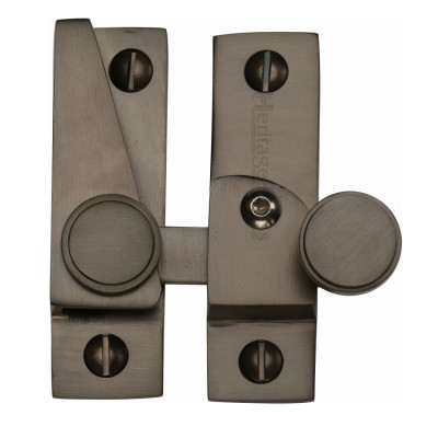 M.Marcus Lockable Flat Hook Plate Sash Fastener - Matt Bronze
