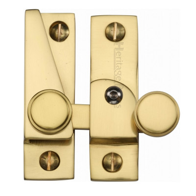 M.Marcus Lockable Flat Hook Plate Sash Fastener - Polished Brass