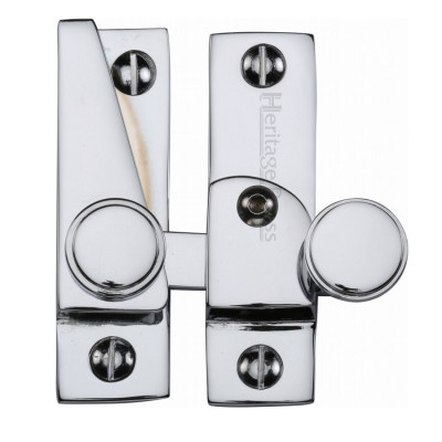 M.Marcus Lockable Flat Hook Plate Sash Fastener - Polished Chrome