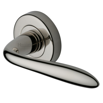 M.Marcus Sutton Lever Handles on Round Rose - Polished Nickel