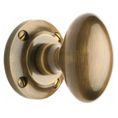 M.Marcus Suffolk Mortice Knob Handles on Round Rose - Antique Brass