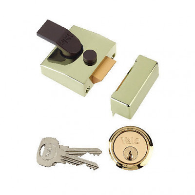 Yale 85 Deadlocking Rim Nightlatch - 40mm Backset - Brass Case with Brass Cylinder