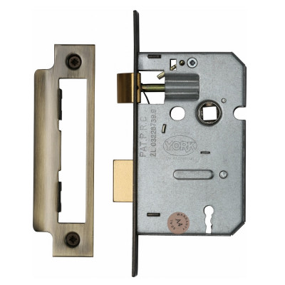 "M.Marcus 3 Lever Sashlock - 64mm (2.5"") Case - 44mm Backset - Antique Brass"