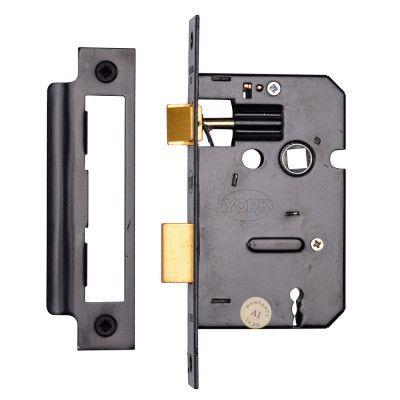 "M.Marcus 3 Lever Sashlock - 64mm (2.5"") Case - 44mm Backset - Black"