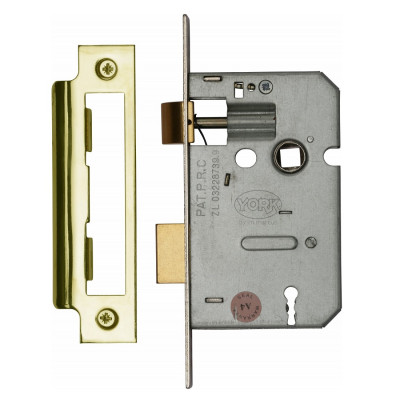"M.Marcus 3 Lever Sashlock - 64mm (2.5"") Case - 44mm Backset - Polished Brass"