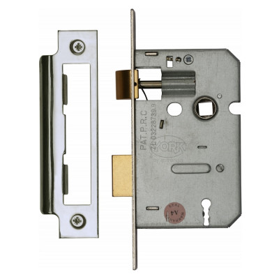 "M.Marcus 3 Lever Sashlock - 64mm (2.5"") Case - 44mm Backset - Polished Chrome"