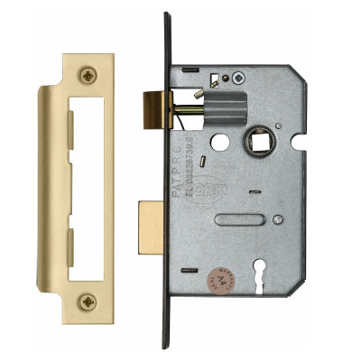 "M.Marcus 3 Lever Sashlock - 64mm (2.5"") Case - 44mm Backset - Satin Brass"