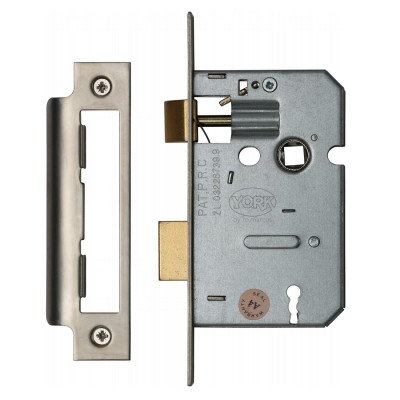 "M.Marcus 3 Lever Sashlock - 64mm (2.5"") Case - 44mm Backset - Satin Chrome"