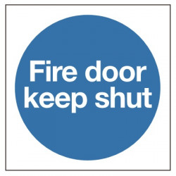 80x80mm Fire Door Keep Shut Sign - Self Adhesive Vinyl