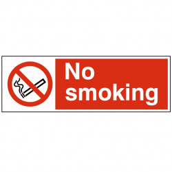 300x100mm No Smoking Sign - Rigid Plastic