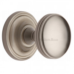 M.Marcus Whitehall Mortice Knob Handles on Round Rose - Satin Nickel